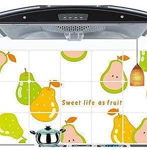 Familia aceite de cocina extraíble ventana pared pegatinas pera frutas