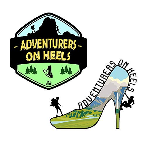 Adventurers On Heels Sticker Set - Premium Quality Matte Waterproof Vinyl Stickers for Water Bottles, Cars, Travel case, Laptop, Bike, Scrapbooking, Luggage (Adventure Decals)