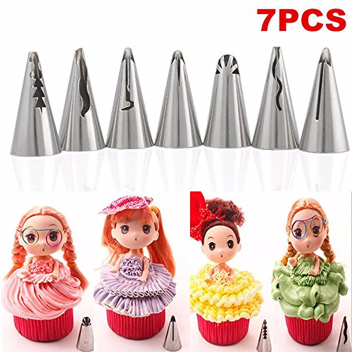 [7PCS/lot Cake Decorating Icing Stainless Steel Russian Piping Tips] (Homemade Gingerbread Girl Costumes)