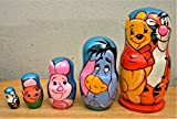 ''Winnie the Pooh'' Russian nesting Doll Set of 5 piece. Hand-painted in Russia.