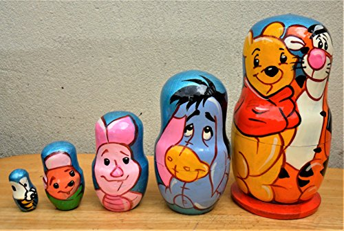 ''Winnie the Pooh'' Russian nesting Doll Set of 5 piece. Hand-painted in Russia. by Russian Arts (Image #1)