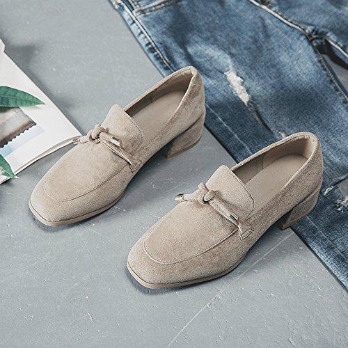 Printemps chaud avec Chaussures GAOLIM Femme étudiants épais de Chaussures les Singles de femelle pour travail beige femme carré Chaussures avec Chaussures q85dBdwxF