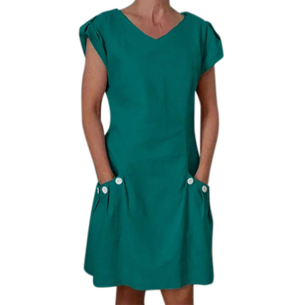 Opinionated Womens Summer Button V-Neck Solid Color Button Short-Sleeved Casual Mini Slim Dress Pocket