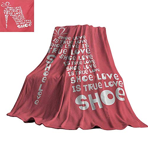 RenteriaDecor Quote,Soft Blankets Shoe Love is True Love Fashion Colored Woman Shoe Made from Quotes Funny Artwork Plush Microfiber Blanket 50