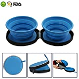 Mogoko Food-Grade Silicone Collapsible Dog Bowl Set,BPA Free, FDA Approved Foldable Expandable Pet Food Water Feeding Cup Dish for Outdoors Travel Camping Hiking(2 pack)