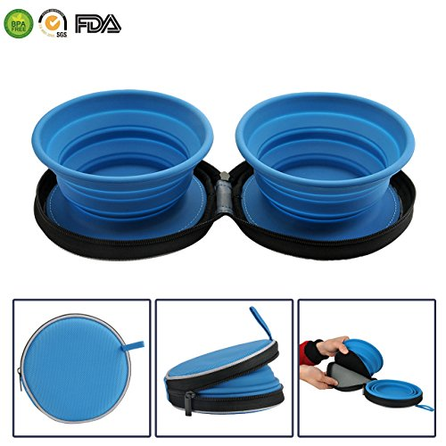 Expandable Pet Food Water Feeding Cup Dish for Outdoors Travel Camping Hiking(2 pack)