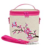 SoYoung Large Cooler Bag - Raw Linen, Eco-Friendly, Retro-Inspired, Leak Proof, Easy to Clean (Cherry Blossom)