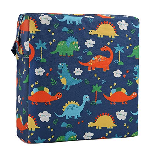 Toddler Booster Seat for Dining Double Straps Washable Portable Thick Chair Increasing Cushion for Baby Kids (Dinosaur Blue)