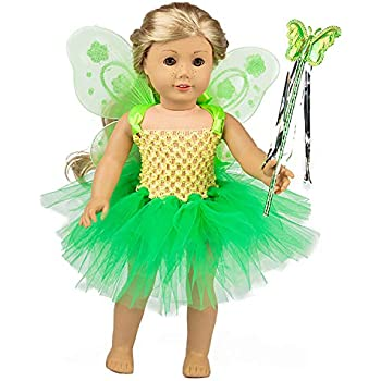 b28fd0897 ZITA ELEMENT Fairy American 18 Inch Doll Clothes Accessories | Costume Tutu  Angel Wings & Magic Wand for 16 - 18 Inch Girl Doll Outfits | Fancy Gift  for ...