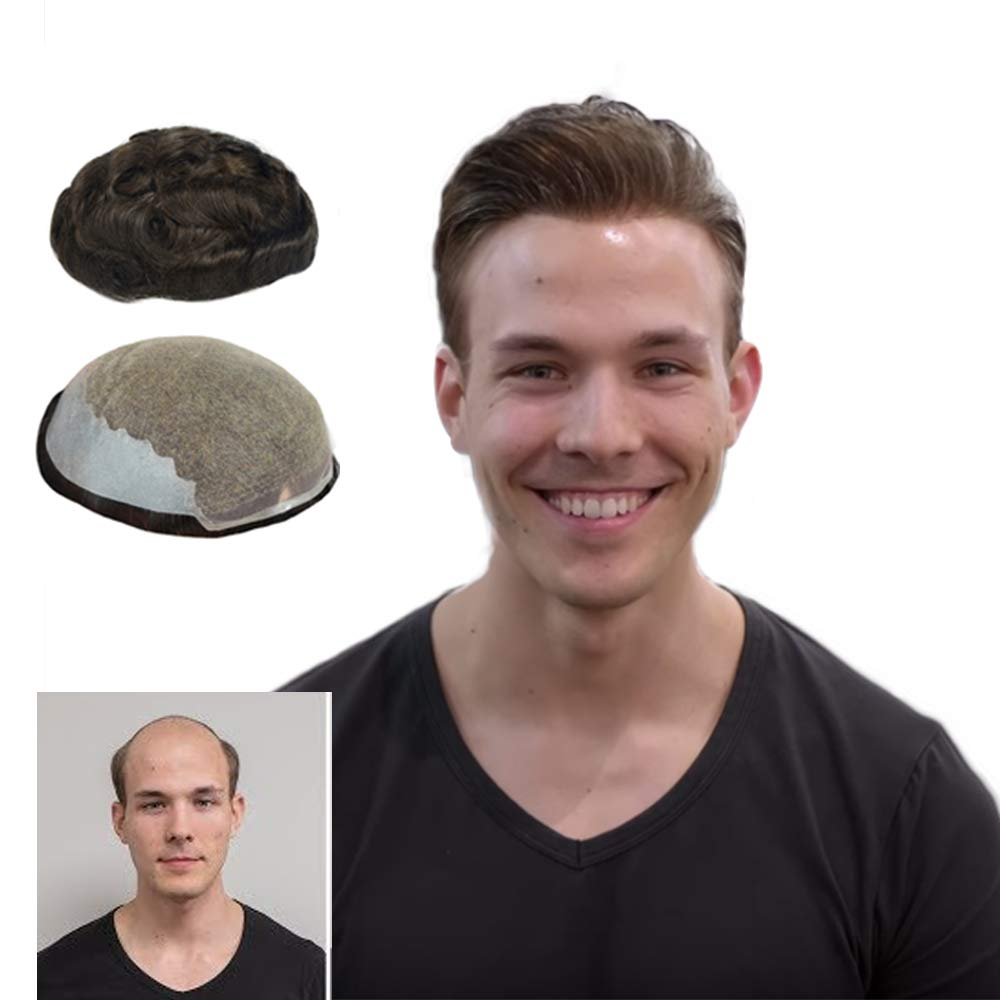 Human Hair LLWear Toupee for Men 8x10 Inch Soft French Lace Cap with 2inch Clearly PU in Back, Natural Wave Men's Hairpiece Replacement System Dark Brown Color(#2)