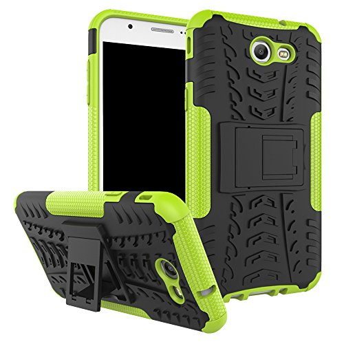 Galaxy J7 V Case, Galaxy J7 Prime, Galaxy Halo, Galaxy J7 Perx, Galaxy J7 Sky Pro, Galaxy J7 2017, KMISS Hybrid Heavy Duty Armor Protection Cover [Anti Slip] [Built-In Kickstand] Skin Case (Green)