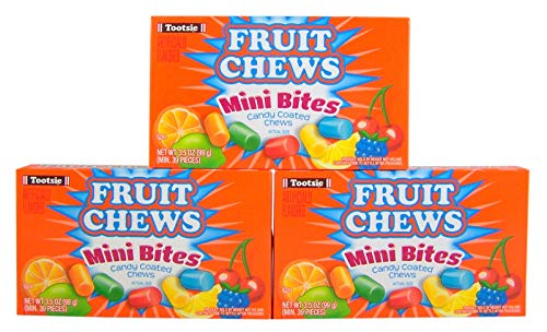 Fruit Chews Mini Bites Candy Coated Chews Movie Theater Box, 3.5 oz (Pack of 3) (Tootsie Raspberry Fruit)