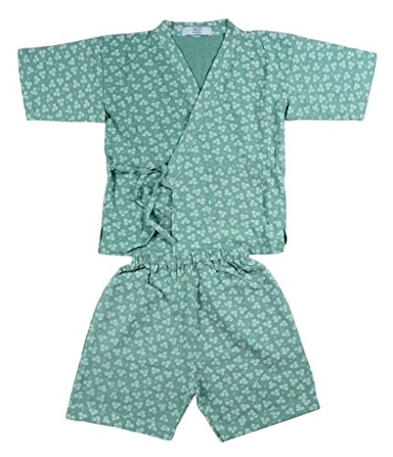 POJ Traditional Japanese Children's Clothing (Jinbei) [ 2 / 3 / 4 / 5 / 6US Size for Kids ] Japan Cosplay (2US, Green)