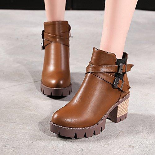 YE Damen Ankle Boots Blockabsatz High Heels Stiefeletten Plateau mit Schnallen und Reißverschluss 6cm Absatz Bequem Schuhe Braun