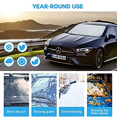 Adoric Life Car Windshield Sunshade Front Window, 500T Reflective Polyester Blocks Heat and Sun. UV Protector Shields Foldable & Keeps Vehicle Cooler: Automotive