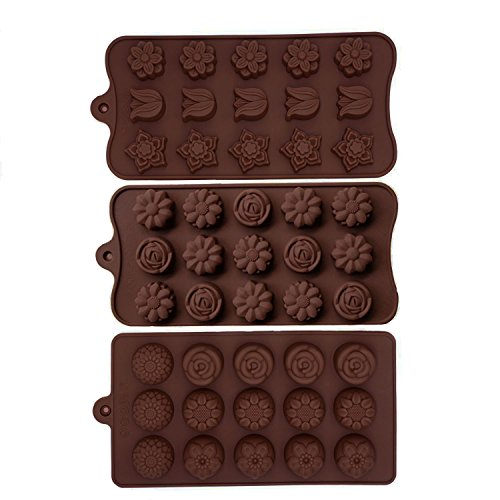 Minchsrin Chocolate Molds 3pc Set sunflower Chrysanthemum product image