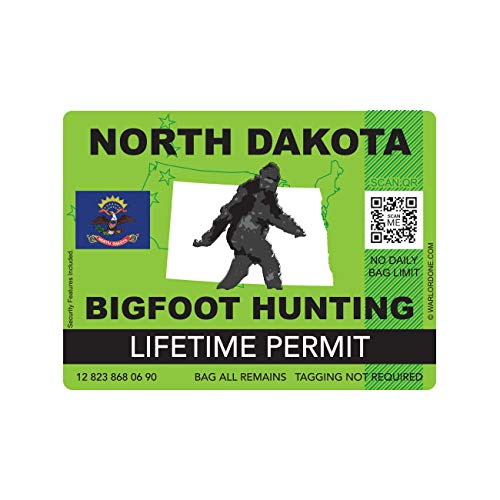 fagraphix North Dakota Bigfoot Hunting Permit Sticker Die Cut Decal Sasquatch Lifetime FA Vinyl - 4.00 Wide