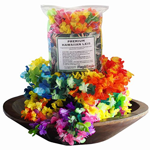 Premium Hawaiian Leis Party Pack – Juicy Colors, Party Proof, Soft Feel, Less Mess, More Fun, Get Your Party Started Today with Free Companion Party Guide, 30pcs