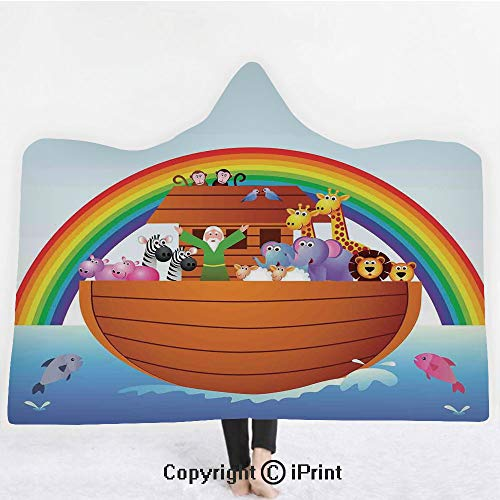 "Noahs Ark 3D Print Soft Hooded Blanket Boys Girls Premium Throw Blanket,Noah Ark and Colorful Sky Every Kind of Creature Sailing Artful Design Print,Lightweight Microfiber(Kids 50""x60"") Multicolor ()"
