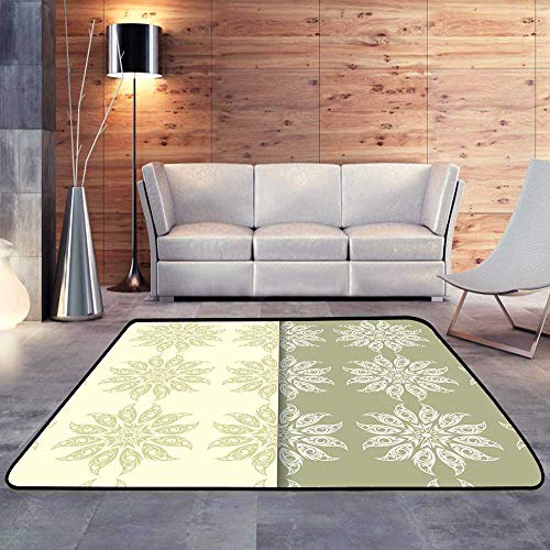 (Silky Smooth Bedroom Mats,Olive Green Set of Floral sW 71