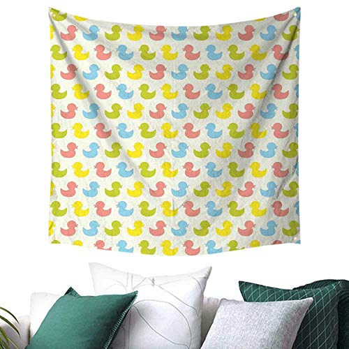 Rubber Duck Tapestry for Dorm Colorful Ducklings Baby Animals Theme Pastel Girls Boys Newborn Gift for Sheet/Blanket 39W x 39L Inch Pink Blue Green and Yellow -