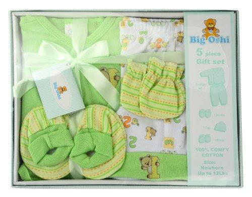 Unisex Layette (Big Oshi Unisex-baby Layette 5 Piece Gift Set, Green, 0-3)
