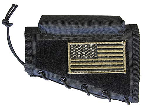 M1SURPLUS Black Cheek Rest + Patriot USA Flag Morale for sale  Delivered anywhere in USA