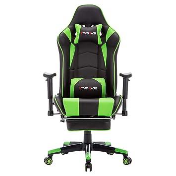 Storm Racer ergonómico Gaming Chair Silla de Respaldo Alto Silla de Oficina con reposapiés Ajuste reposacabezas y Apoyo Lumbar Silla de Racing (Verde-s): ...