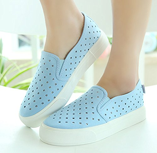 Sfnld Womens Hollow Out Slip On Canvas Loafer Sneakers Blue vo93Sk
