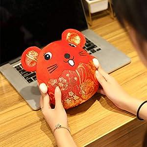 IJKLMNOP Rat Doll Mouse Plush Toy,Chinese Red Mascot Plush Soft Doll Bolster Stuffed Animal Pillow Gift 2020 Rat New…