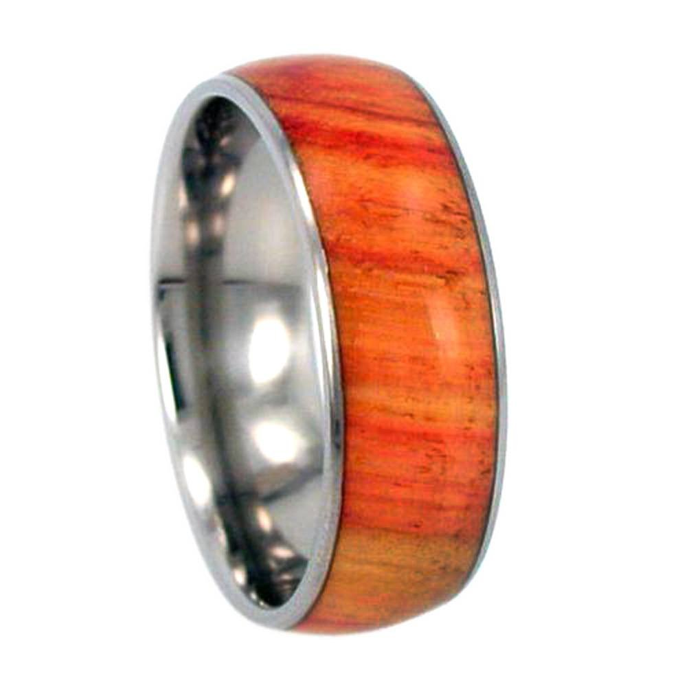 Size 11.25 Tulip Wood Inlay 8mm Comfort Fit Titanium Wedding Ring