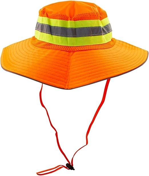 High Visibility Reflective Safety Neck Flap Wide Brim Boonie Neon Sun Hat Cap