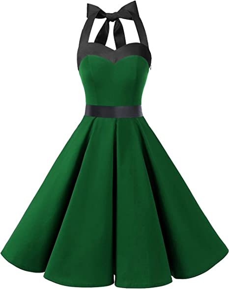 TALLA S. Dresstells® Halter 50s Rockabilly Polka Dots Audrey Dress Retro Cocktail Dress Green Black S
