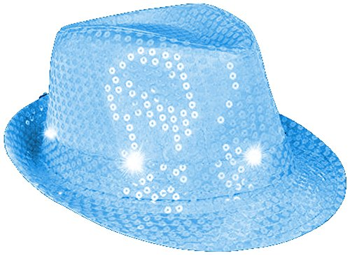 Flashing Neon Blue Pimp Gangster Blues Brothers Fedora Hat Costume Accessory