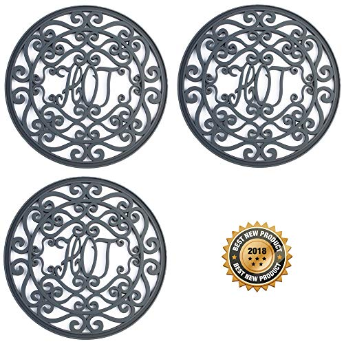 Silicone Trivet Set For Hot Dishes, Pots & Pans. These Modern Kitchen Hot Pads Hot Ironworks Design Provides a Rustic Charm that Mimics Cast Iron Trivets (7.5 Round, Set of 3, Dark Gray)