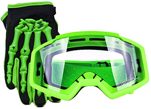 Typhoon Youth Glove & Goggle Combo Motocross Offroad ATV MX Dirt Bike - Green - Small