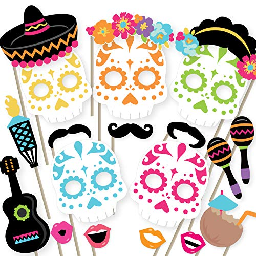 Fiesta Photo Booth Props by Woola Boutique - Mexican Themed Birthday, Wedding, Bachelorette, Day of the Dead, Cinco De Mayo Party Supplies and Decorations - Funny Selfies With Sugar Skulls, Mustaches]()