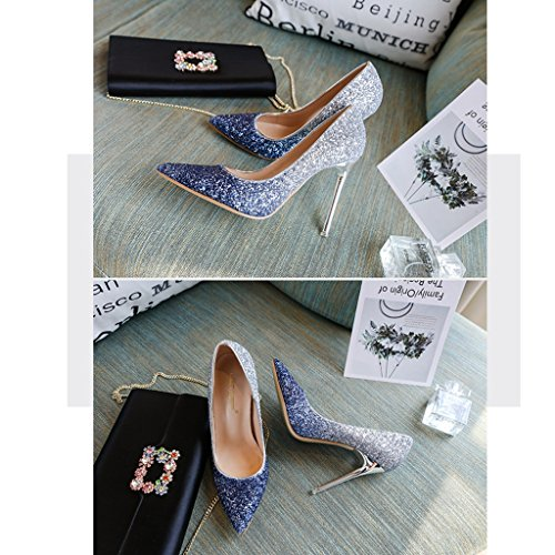 Sposa Shopping Damigella D'onore Lavoro Punta Lo Talloni Che Femminile Taglia Estate Cristallo Alti Blu Della 35 Wedding colore Della Blu P8wqOz