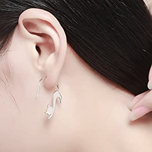 JUFU Animal Collection 925 Sterling Silver Cute Napping Little Cat Drop Earrings for Women Sterling Silver Jewelry Gift