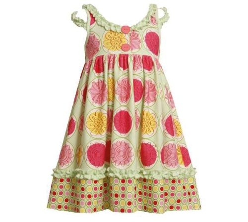 Green 4-6X Bonnie Jean Girls Geometric Knit Spring Summer Dress