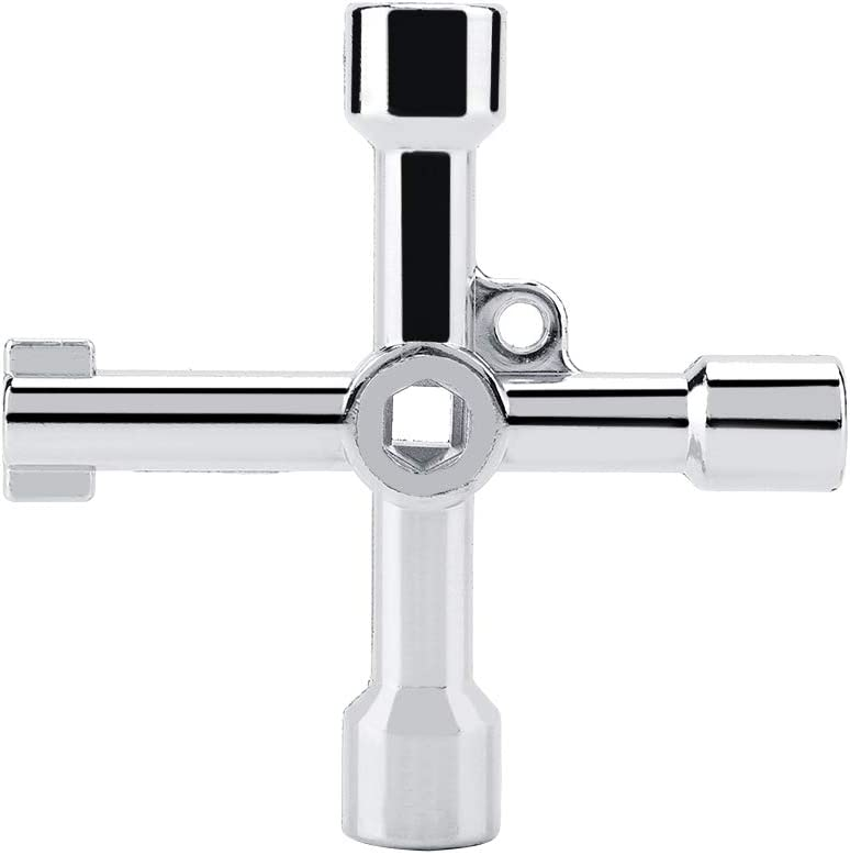 Cross Key Wrench Multifunctional Triangular Wrench Cross Round Hole Key Triangular Wrench for Electrical Control Cabinet Elevator