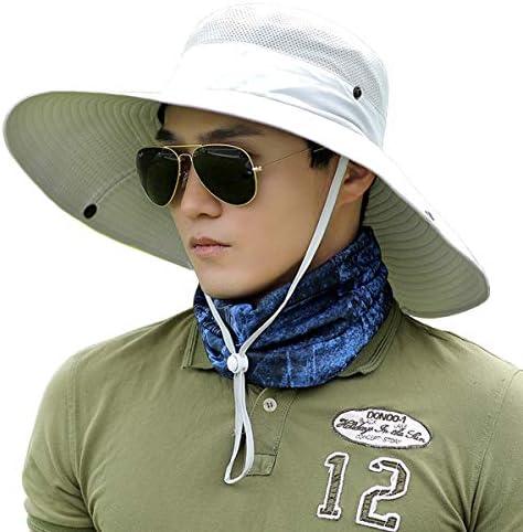 Men Fishing Hiking Hat, Unisex Lawn Gardening Wide Brim Bucket Hats, Cowboy Sun Protection Cap Foldable UPF 50