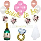 Bachelorette Party Decorations Kit | Bridal Shower Supplies | Bride to be Sash, Veil, Champagne, Ring Foil Balloon, Rose Gold Balloons, Gold Glitter Banner, Bride to Be