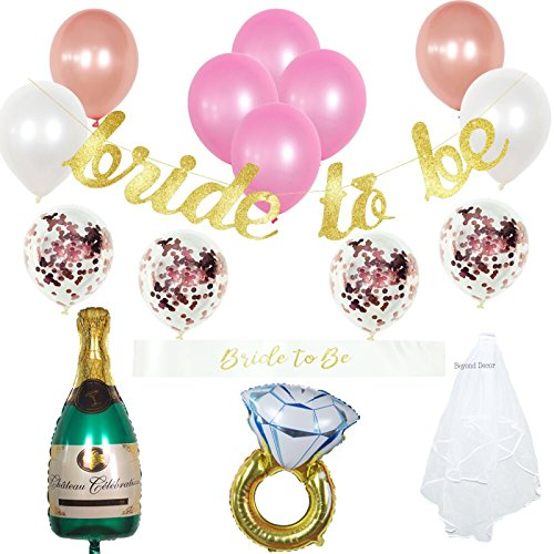 Bachelorette Party Decorations Kit | Bridal Shower Supplies | Bride to be Sash, Veil, Champagne, Ring Foil Balloon, Rose Gold Balloons, Gold Glitter Banner, Bride to Be by Beyond Decor