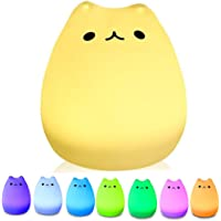 Portable LED Children Night Light Kids Multicolor Silicone Cat Lamp, Warm White &7-Color Breathing Dual Light Modes, USB Rechargeable Lighting, Sensitive Tap Control for Baby Adults Bedroom …