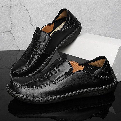 Charm Foot Para Hombre De Negocios Formal Flat Mocasines De Cuero Negro