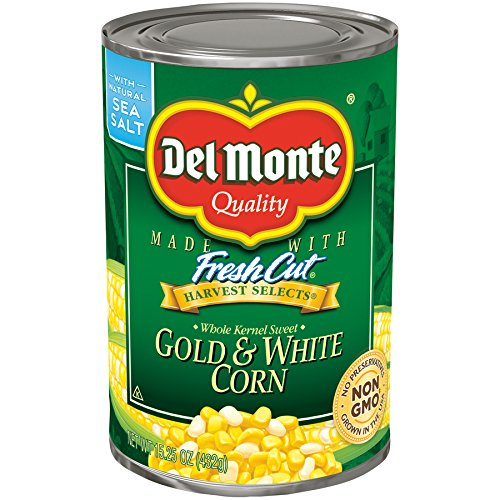 Del Monte Canned Harvest Select Fresh Cut Whole Kernel Sweet Gold & White Corn, 15.25-Ounce (Pack of 12)