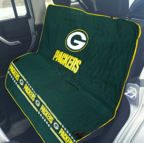 Image of Pets First NFL CAR SEAT Cover - Green Bay Packers Waterproof, Non-Slip Best Football Licensed PET SEAT Cover for Dogs & Cats.