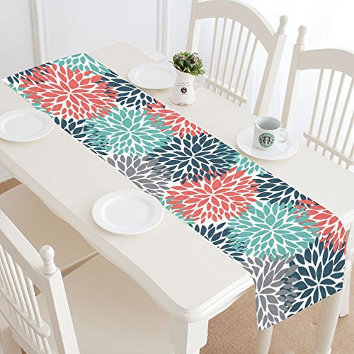 InterestPrint Dahlia Pinnata Flower Teal Coral Gray Table Runner Linen & Cotton Cloth Placemat Home Decor for Kitchen Dining Wedding Party 16 x 72 Inches -