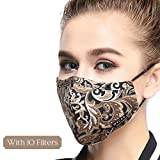 Dust Mask 5 Layer Activated Carbon Filter Washable Replaceable Filter For Man And Women (One Mask + 10 filters) Women Coffee Flower